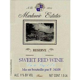 Markovic Estates Sweet Red Reserve Label Adel